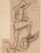 L'homme et le serpent ; Figures (au verso du premier support) ; Etude pour un socle (au verso du second support)